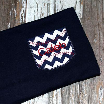 Appli-Pocket 2 Square with Baseball Stitches