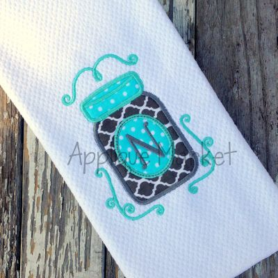 Mason Jar Applique Design