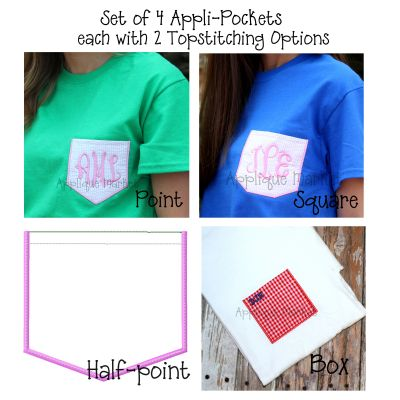 Appli-Pocket 2 Set (with Topstitching)