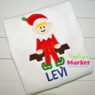 applique elf boy shelf christmas
