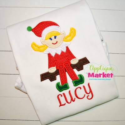 applique elf girl shelf christmas