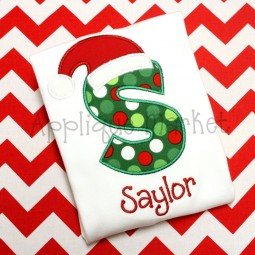 applique embroidery alphabet font santa hat