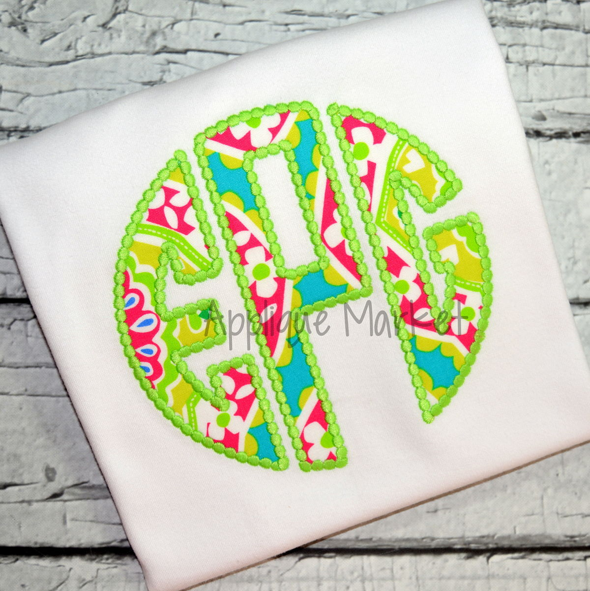 Circle Monogram Applique Beaded Edge