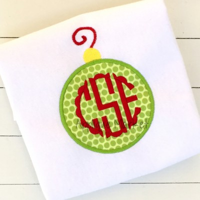 applique embroidery circle ornament monogram