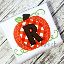 applique embroidery pumpkin alphabet boy font