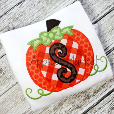 applique embroidery pumpkin scroll alphabet font girl