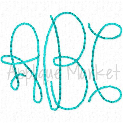 Graceful Monogram Alphabet Floss Stitch