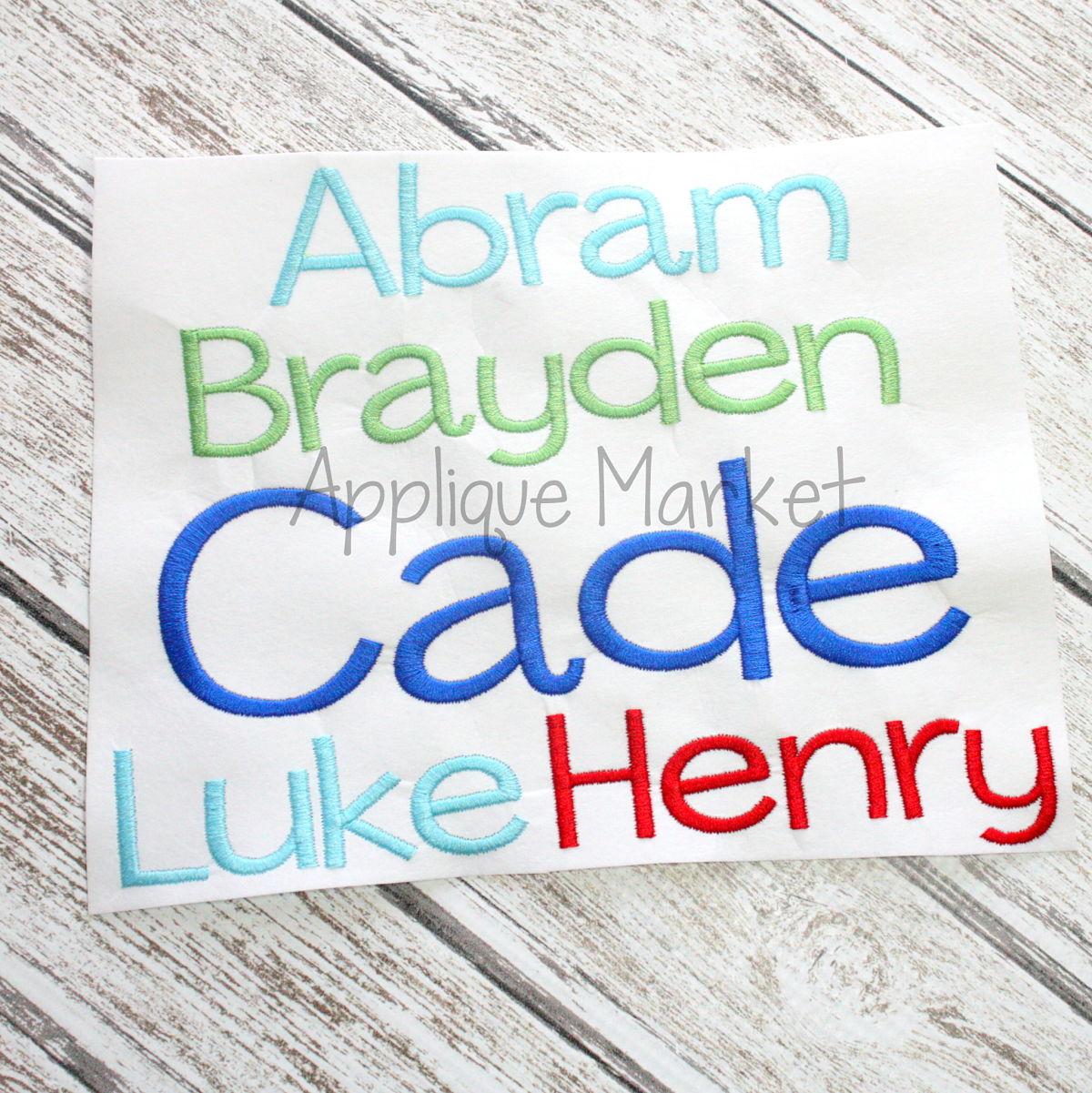Henry Embroidery Alphabet Applique Design
