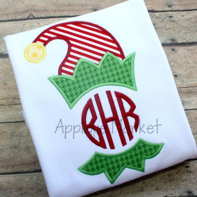 Elf Hat Bib Monogram