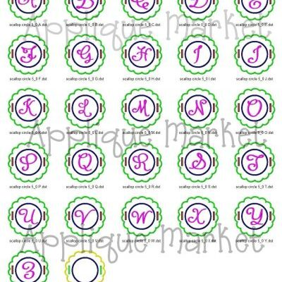 In The Hoop Scallop Circle Label Alphabet