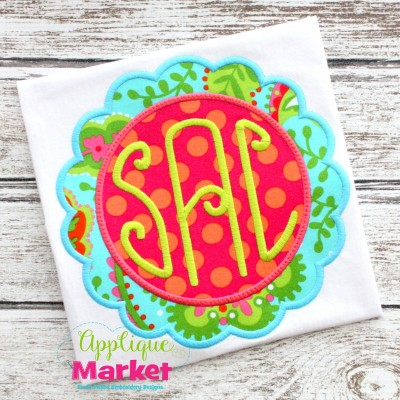 scallop circle frame updated applique monogram lilly