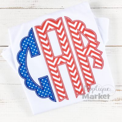 scallop circle monogram applique red white blue