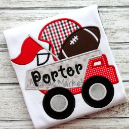 applique embroidery dumptruck football helmet pennant_opt