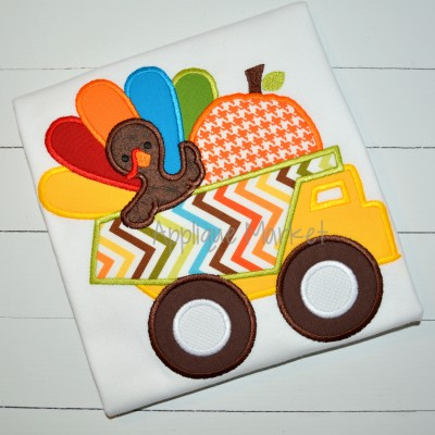 applique embroidery turkey dump truck pumpkin