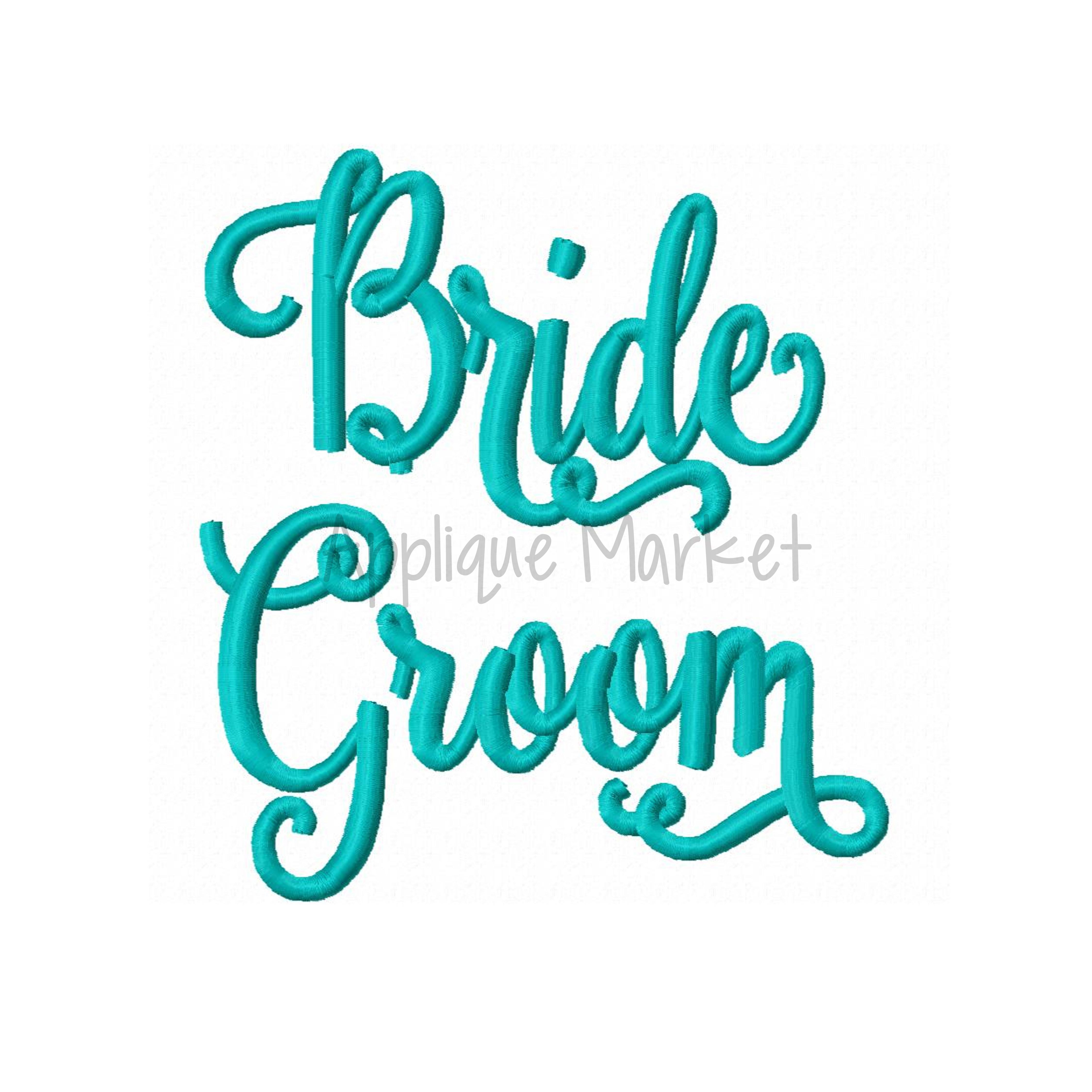 Bride Groom Embroidery Applique Design