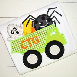 embroidery applique dumptruck spider ghost