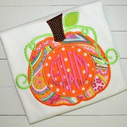 embroidery applique pumpkin beaded swirls monogram