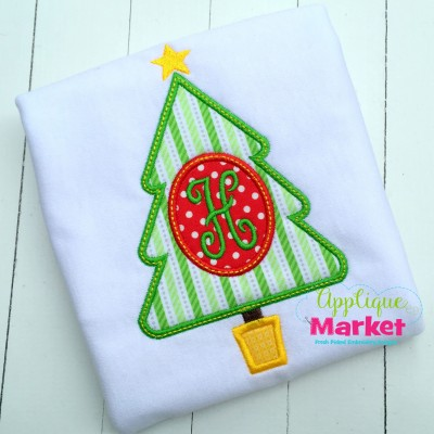 applique embroidery christmas tree oval monogram star