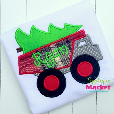 applique embroidery dumptruck tree