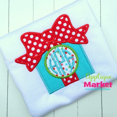 applique embroidery gift bow monogram