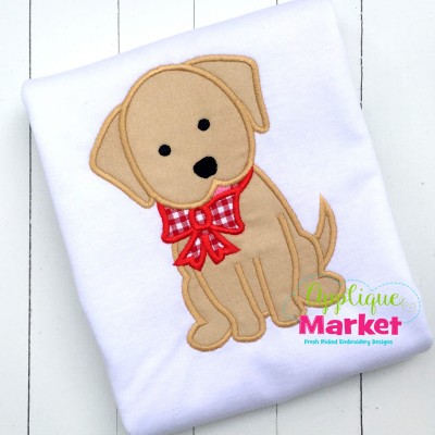 applique embroidery puppy bow dog christmas