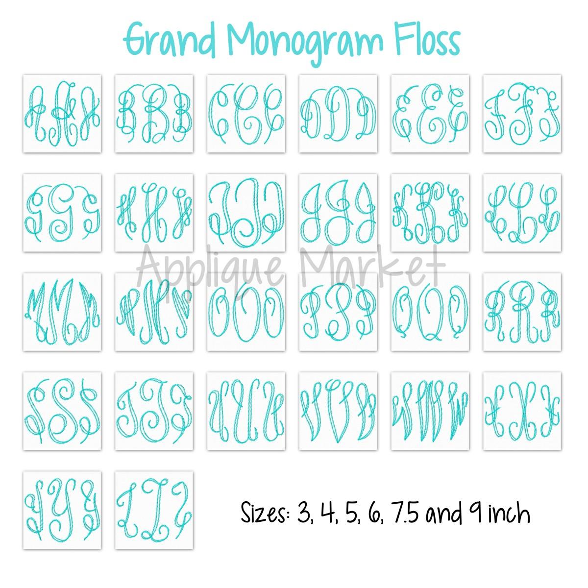 grand monogram floss stitch