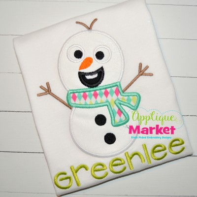 applique happy snowman olaf