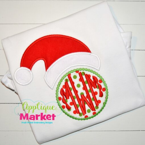 Santa Hat Beaded Circle Monogram Top