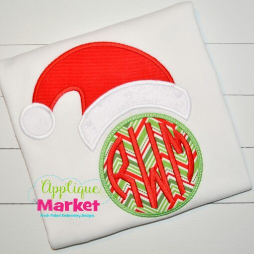 Santa Hat Circle Monogram Top