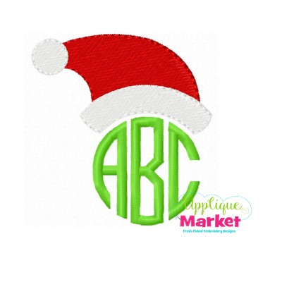 embroidery santa hat monogram topper pic