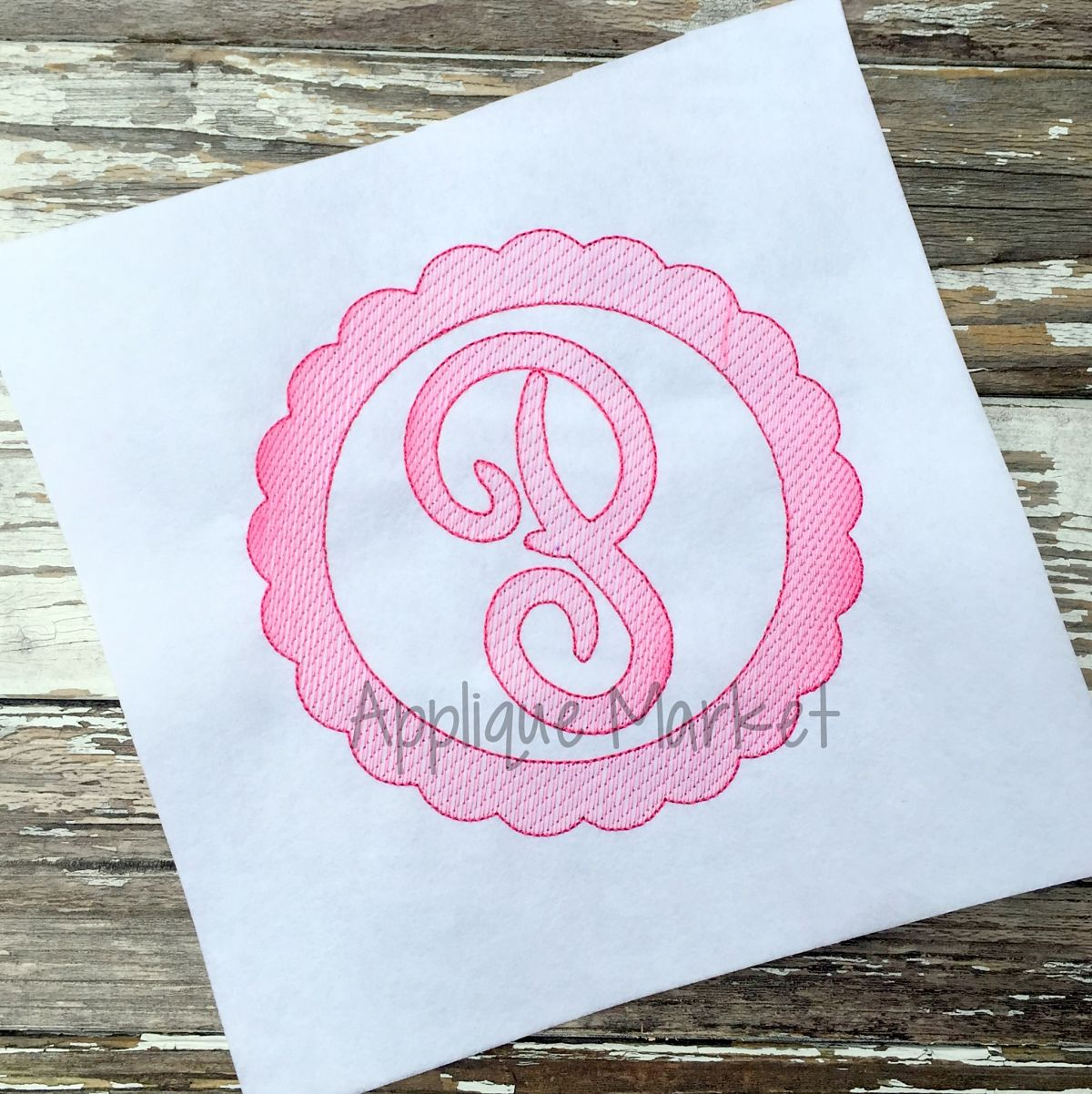 Scroll Monogram Sketch Fill Applique Design
