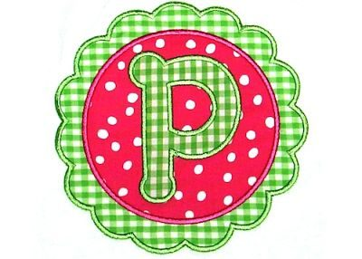 Scallop Circle Applique with Dot Letters