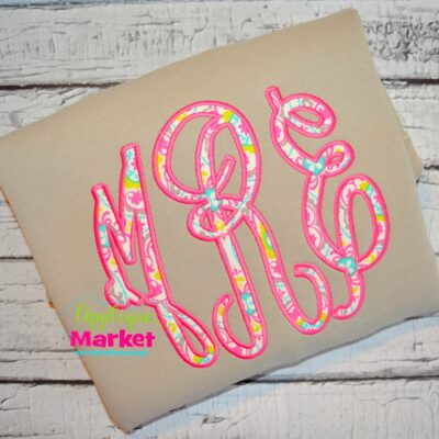 grand monogram applique satin stitch