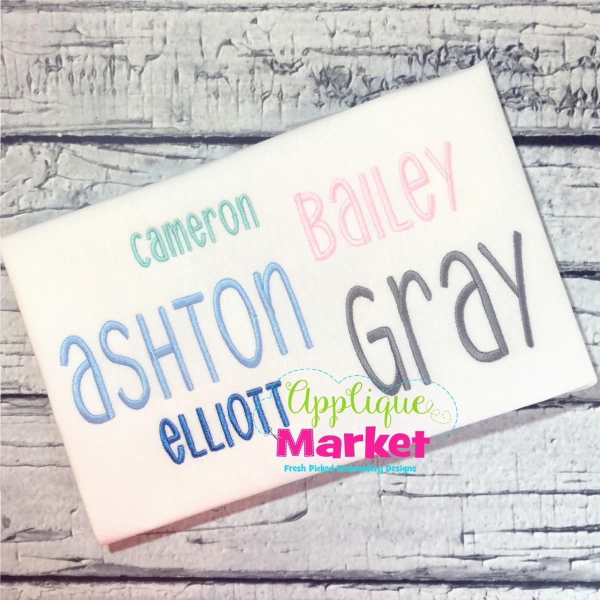 Gray Alphabet Font: Gray Alphabet Applique Market Design