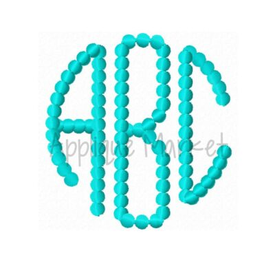 natural circle monogram beaded