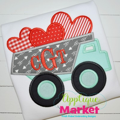 embroidery applique dumptruck hearts