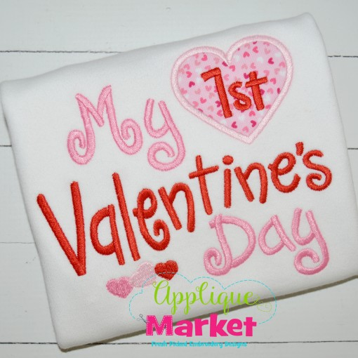 embroidery applique my first valentines day heart