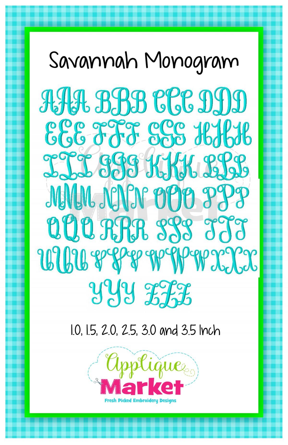 Savannah Monogram Alphabet Applique Design