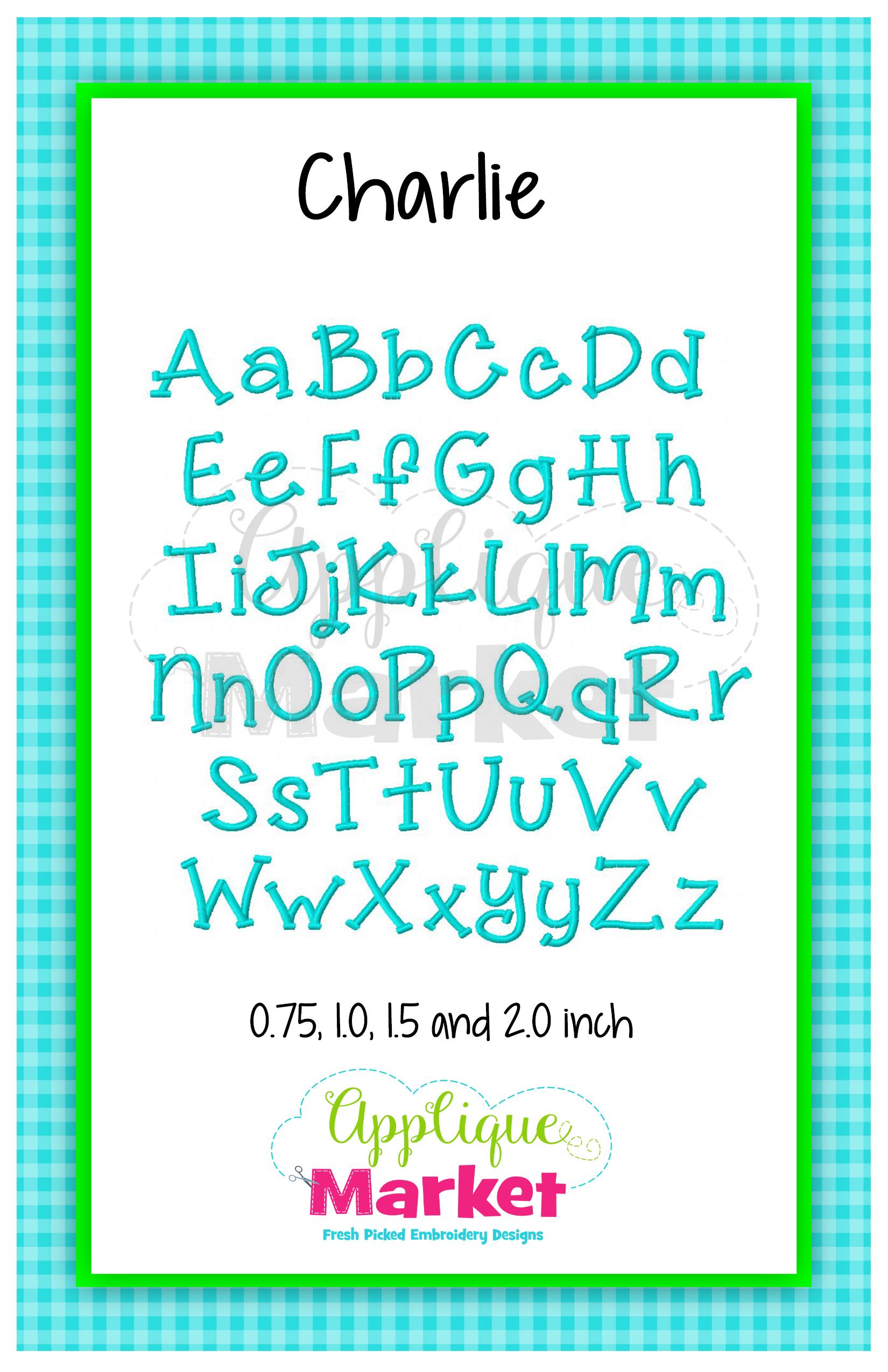 charlie embroidery alphabet applique