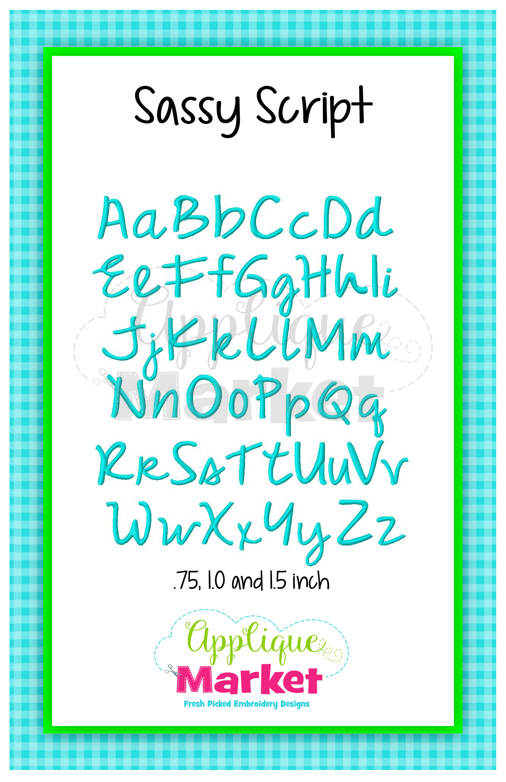 sassy script embroidery alphabet