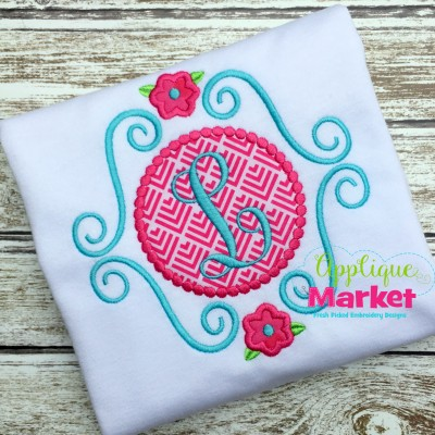 embroidery applique scroll flower beaded monogram frame