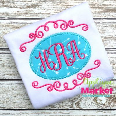 embroidery applique swirl monogram frame beaded