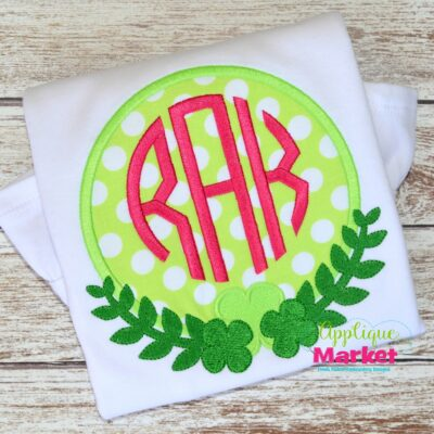 St. Patty Frame applique monogram embroidery shamrock