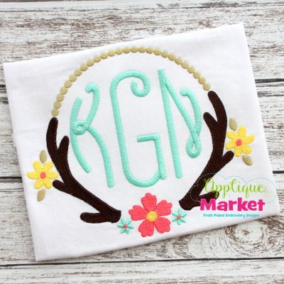 antler frame sample applique monogram deer flower