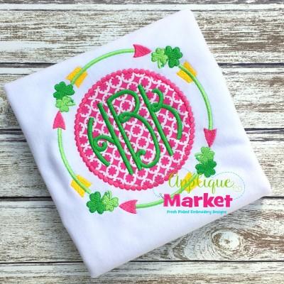 applique embroidery tribal arrow shamrock st patricks monogram frame