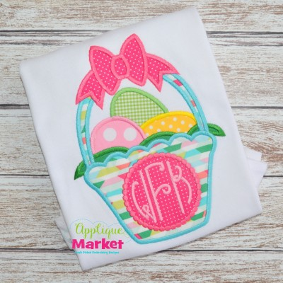 basket bow sample applique embroidery easter monogram