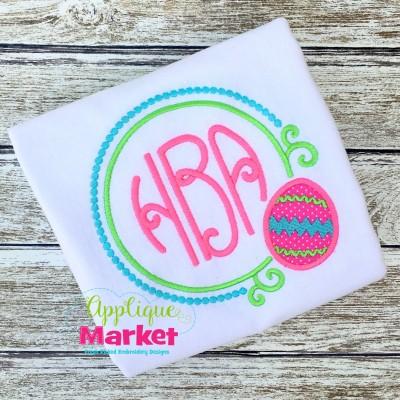 embroidery applique easter egg swirl monogram framejpg