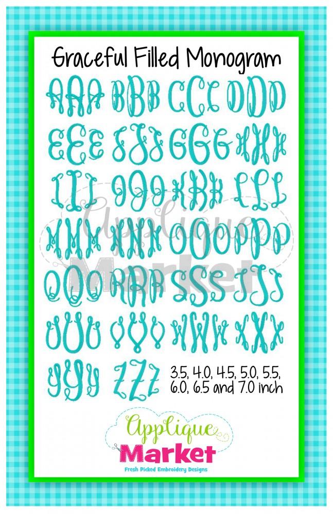 graceful jumbo monogram alphabet applique design
