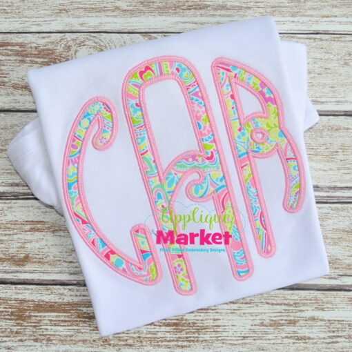 Lilly Circle Monogram Applique Satin Stitch