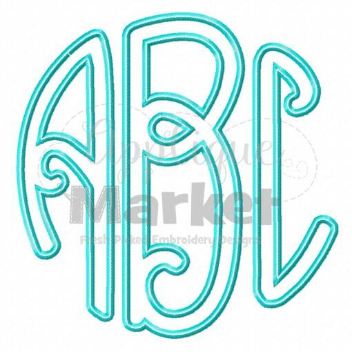 Lilly Circle Monogram Applique Satin Stitch